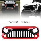 Front Angry Grill Grille For Jeep Wrangler Rubicon Sahara Jk 07 17 ABS Plastic