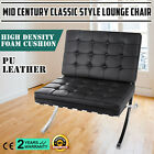 Leather Lounge Chair Black Steel Mid Century Modern Classic  hand sewn