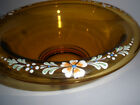 Vintage Big Beautiful Console Bowl HP Enamel Flowers Amber Footed Gold Trim Edge