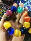 BEAUTIFUL CHINESE NATURAL COLOR AGATE BEADS  HAND KNIT ELASTIC BRACELET