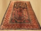 Distressed Antique  Hand Knotted Afghan Balouch Wool Area Rug 4 x 3 FT (5374)