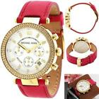 Women's New MK2297 'Parker Chronograph Crystal Pink Leather Watch MI CHAEL KORS