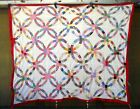 Vtg 1930's Double Wedding Ring QUILT TOP  pastel pink