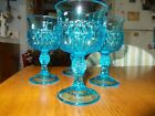 4 Blue Vintage Indiana Glass Small Stemmed Diamond Point Goblet 5 3/8