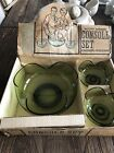 Vintage  Anchor Hocking green glass console bowl candle holders box set