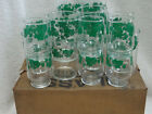 18 Piece 1950's  Vintage Federal Green Ivy Drinking Juice Glasses New in Box