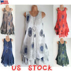 Plus Size Women Ladies Boho Sleeveless Mini Dress Summer Beach Baggy Tunic Dress