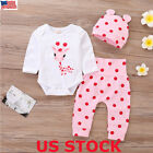 US Newborn Baby Girl Boy Cartoon Romper Tops Jumpsuit Pants Hat Outfits Clothes