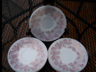 Federal glass Burgundy Spree White Milkglass W/Deep Red Flowers Saucers Set of 7