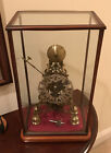ANTIQUE ENGLISH SKELETON CLOCK FUSEE 8 DAY WITH GLASS CASE