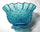Vintage L.E.Smith Aqua Turquoise Blue Daisy and Button Glass Ruffled Rose Bowl