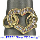 Heart shape Yellow gold Plated 925 SILVER Ring  Free Silver earring US shipper