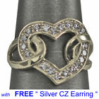 Heart shape WHITE gold Plated Beautful Ring size 5 10 with Free Silver earring