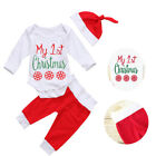Newborn Baby My 1st Christmas Set Boy Girl Romper Legggings Hat 3PCS Outfit US