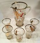 Mid century glassware set. Sangria pitcher and 5 glasses. Japanese.