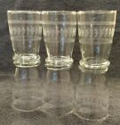 6 MINT 1950's CUT ETCHED LAUREL VINES LEAVES CLEAR 8 OZ WATER GLASSES 4-1/4