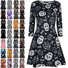 USA Plus Size Women's Halloween Pumpkin Bat Spider Dress Sleeve Midi Retro Dress