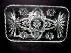 VTG 1950s Clear Pressed Glass Rectangular Tray Hobstar Star Pattern - Free Ship