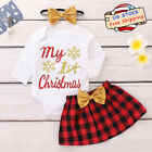 Newborn Baby Girl My 1st Tops Romper+Skirt Headband Christmas Clothes Outfit Set