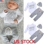 Newborn Baby Boy Girl Clothes Jumpsuit Romper Bodysuit +Long Pants +Hat Set Suit
