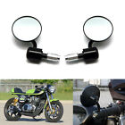 Black Motorcycle Handle Bar End Mirrors Round 7/8