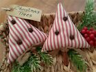 Two Red Ticking Fabric Handcrafted Christmas Tree Bowl Filler's Ornie's