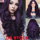 Fashion Women Long Purple Hair Full Wig Natural Curly Wavy Synthetic Hair Wigs