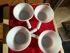 Anchor Hocking 4 milk white glass bowls  handle USA great condition vintage