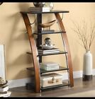 Audio Video Tower Shelves Glass Tempered Whalen Storage 5 Rack Shelf Media Brown