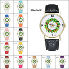 Christmas Casual Lover Leather Stainless Steel Quartz Analog Wrist Watch Cheap