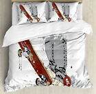 Teen Room Duvet Cover Set with Pillow Shams Skate and Sneakers Print