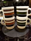 4 Fire King Coffee Cups Mugs Super Stripe Stacking D Handle 2 Brown 2 Green