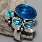 BLUE QUARTZ FACETED FREE SHIPPING RING US 8.5 JEWELLERY
