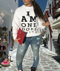 Women Fall Long Sleeves Letter Print Casual Clubwear Party Tops Shirts Sweate