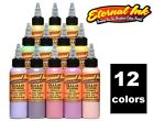 ETERNAL Tattoo Ink Halo Fifth Dimension Set 12 Opaque Pastel Colors 1oz Bottle