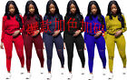 Women Hooded Sweate Tops Burn Out Casual Sports Set Long Party Jumpsuits 2pcs