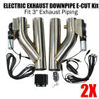 2PCS 3 ELECTRIC EXHAUST DOWNPIPE E CUT OUT VALVE + ONE CONTROLLER REMOTE KIT