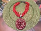 Bea Tom Rare Coral Strand Necklace With Lg Coral Needlepoint pendant Navajo