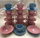 31 Pc Vintage Fiesta Rose And Blue Cups Saucers