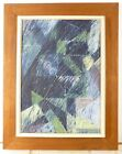 VINTAGE GEOMETRIC ABSTRACT OIL PAINTING MID CENTURY MODERN Signed 1965