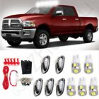 Set of 5 Clear Top Cab Marker Cover & White Led Bulbs Switch for 99-02 Ram 2500