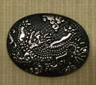 Gorgeous Raised Silver Creature On Large Oval Black Glass Button -4 Way Shank