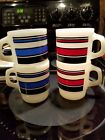 4 Fire King Coffee Mugs Cups Super Stripe Stacking D handle 2 Red 2 Blue