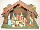 Vintage Lighted Manger Nativity Creche Plastic Marked Italy