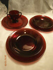 Vint ANCHOR HOCKING ROYAL RUBY RED GLASS 3-Dinner Plates, 2-Soup Plates, 1-Sugar