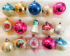 15 Vintage Glass Christmas Ornaments Bell Stars Teardrops Indents Glitter