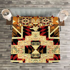 Retro Quilted Bedspread  Pillow Shams Set Native American Boho Chic Print