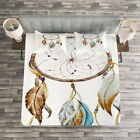 Feather Quilted Bedspread  Pillow Shams Set Native American Watercolor Print