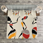 African Woman Quilted Bedspread  Pillow Shams Set Native Dancers Print
