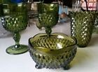 4 Lot Vintage Indiana Imperial Glass Diamond Point Green Large Goblets Bowl Vase